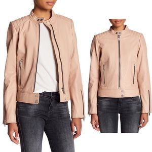 7For All Mankind Genuine Leather Scuba Jacket Nude